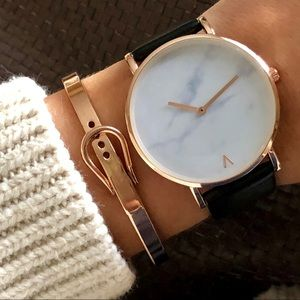 Minimalist Marble Rose Gold Luxury Leather Watch